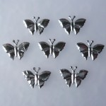 WOC 100 Small Silver Padded Butterfly Embellishments EM-00092