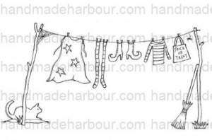 Witch's Clothes on Washing Line with Cat