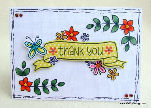 Thank You card with Lawn Fawn's Blissful Botanicals