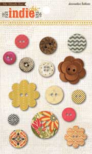 My Mind's Eye Indie Decorative Buttons Ginger Direction