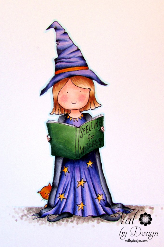 Handmade Harbour - Young Witch with Spelling Book - colored with Copics